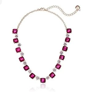 Betsey Johnson Bright Square Stone Flower Necklace